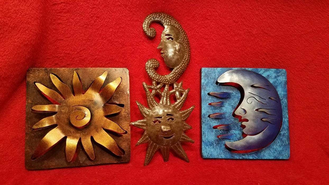 Set of 3 Metal Sun and Moon Celestial Patio or Home Pictures - Made in Mexico