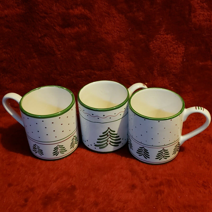 Lot 3: Vintage Carole E. Designs Ceramic Coffee Mug w/ Christmas Trees