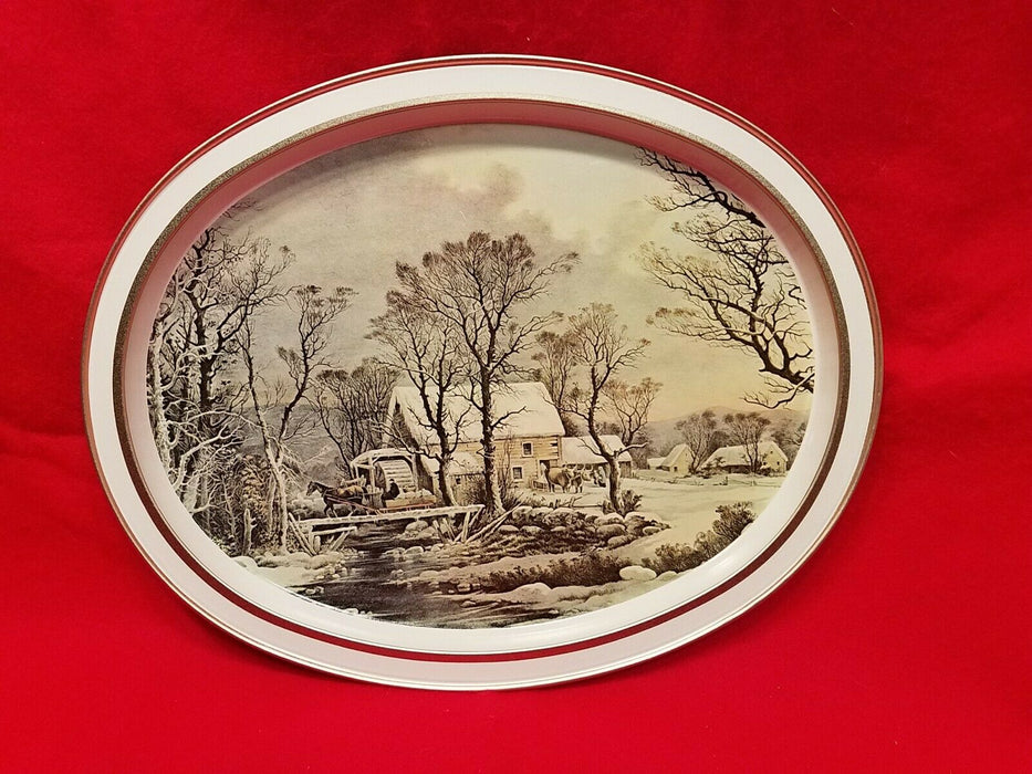 Currier and Ives The Old Grist Mill Winter in the Country Metal Platter and Tin