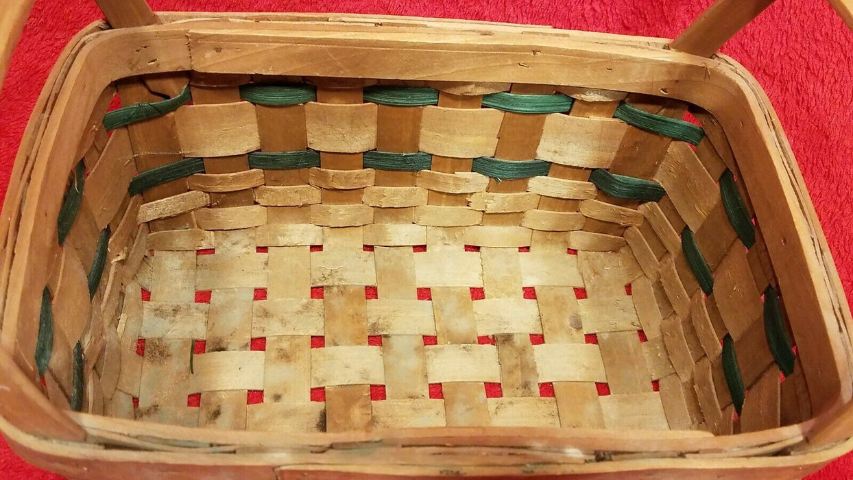 2 Baskets 1 Longaberger Handwoven Basket & 1 Large Woven Baskets w/ Hearts