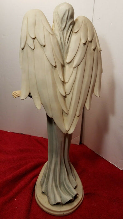 2 Ft. Tall Blonde Angel in a Blue Dress Statue Figurine for Garden or in Home