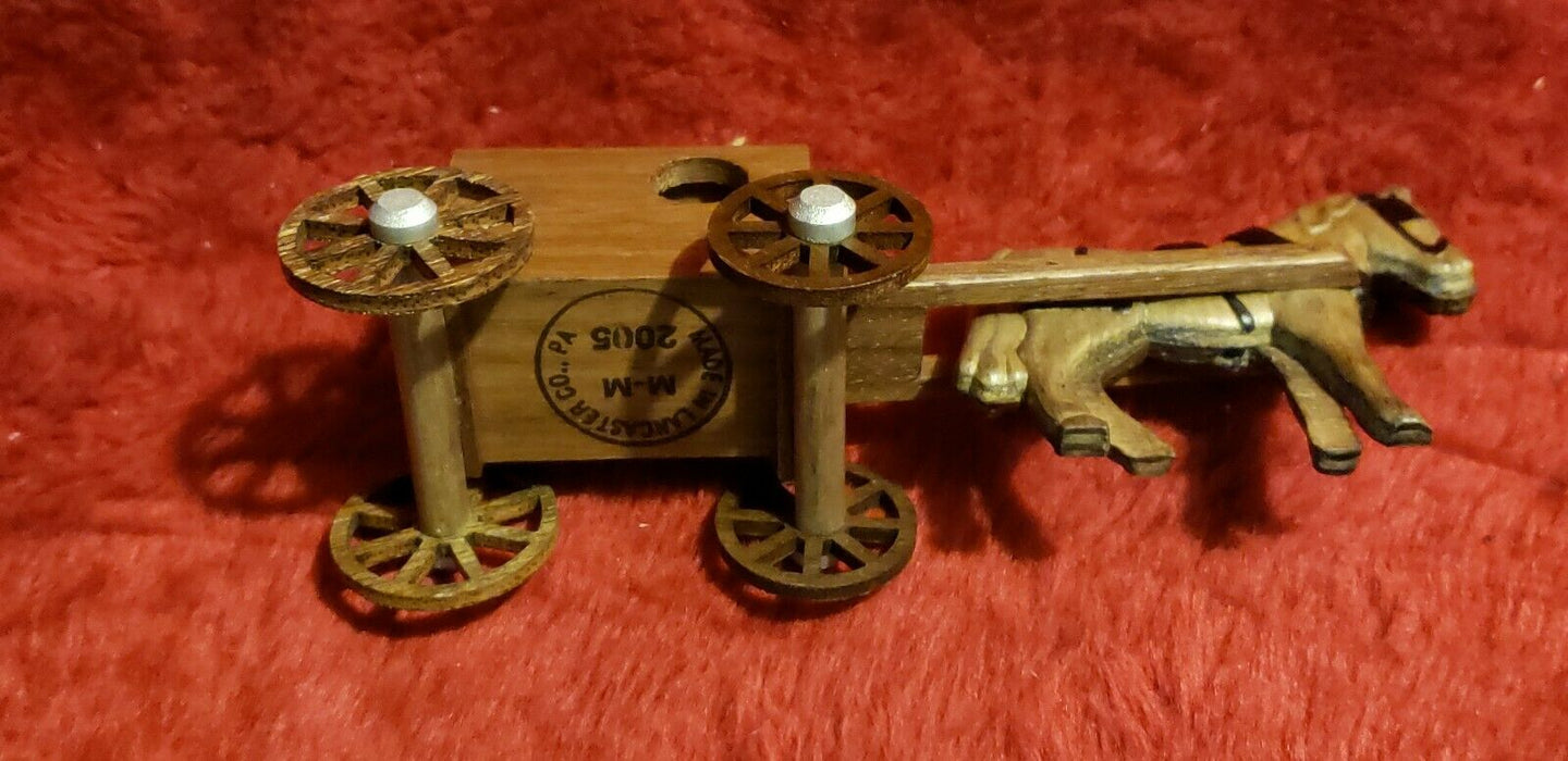 M M Handmade Wooden Miniature Amish Horse and Buggy made in Lancaster, PA