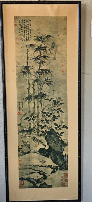Print of Sparrows, Bamboo and Camellias by Wang Chan of China