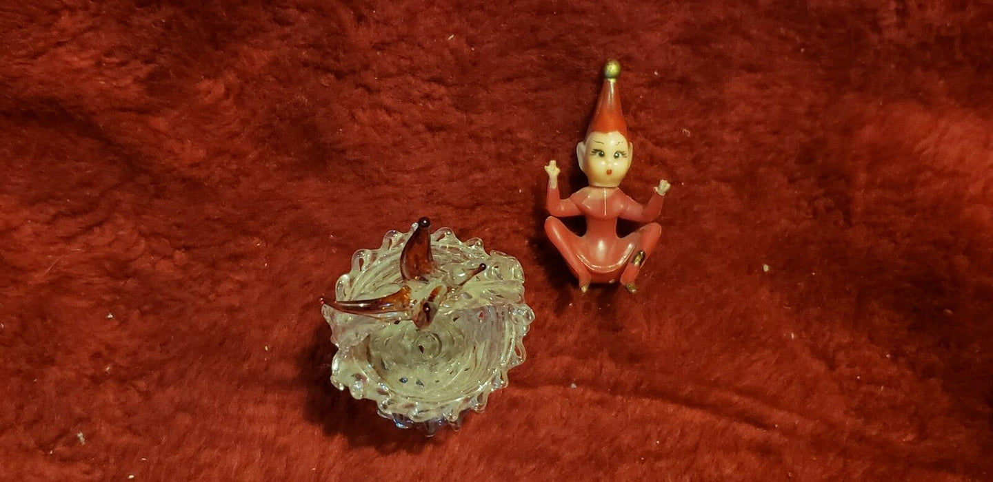 Miniature Glass Red Bird on Basket Hand Blown Mini Home Decor Knick Knack