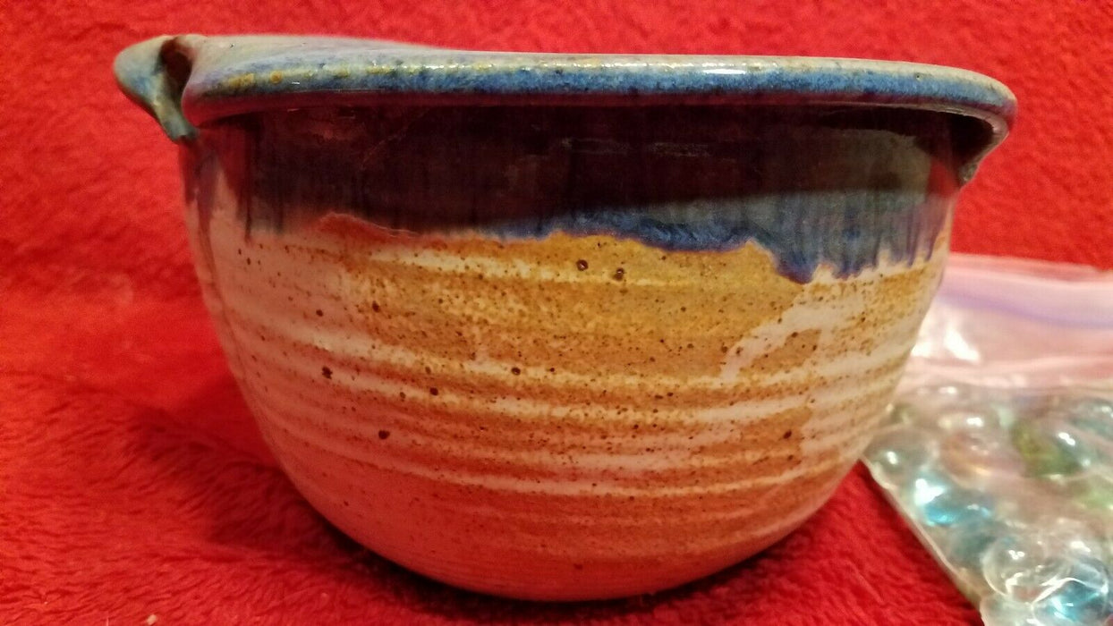 Handcrafted Planter Pottery White w/ Blue Glaze Rim & Bag of Glass Marbles