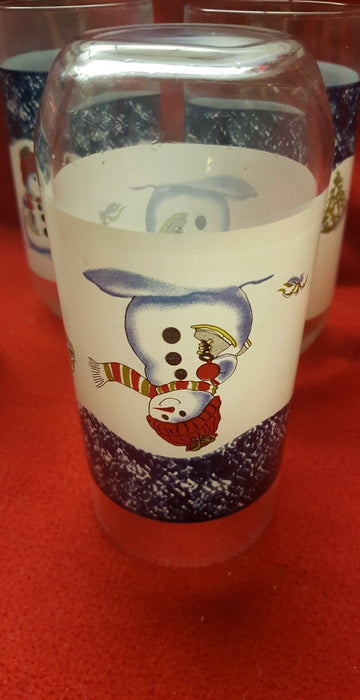Lot 4: Christmas Holiday Snowman Drinking Glasses 14 ounces