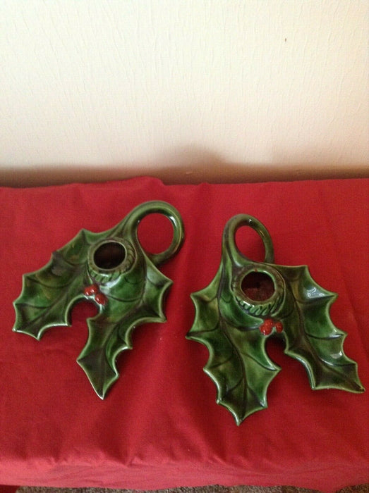 "Lot of 2: Ceramic Vintage Christmas Tray 7"" and Holly Candlestick Holder"