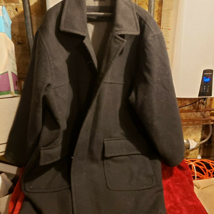 Claibourne 2x Men's Wool Trench Jacket Coat Grey/Black