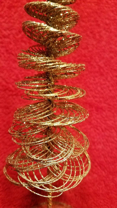 Set of 2  Sparkly Gold Spun Spiral Wire Christmas Tree Figures