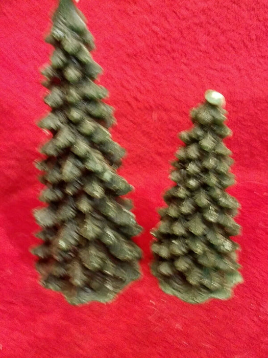 Set of 6 Boston Warehouse Green Wax Christmas Tree Candles 2 Sizes