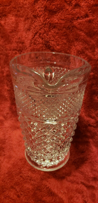 "Vintage Clear Pressed Glass Geometric Design 10"" Handled Pour Pitcher/Vase"