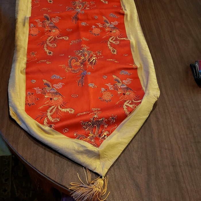 "Red Asian Inspired Table Runner 12"" x 65"" ...with gold edge and end tassels"