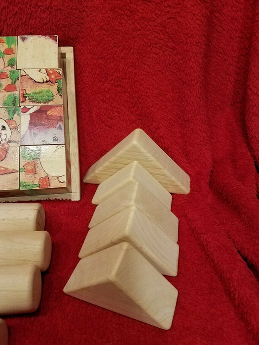 Vintage 4 Sided Wood Block Puzzle & 24 Various Wood Block Building Pieces