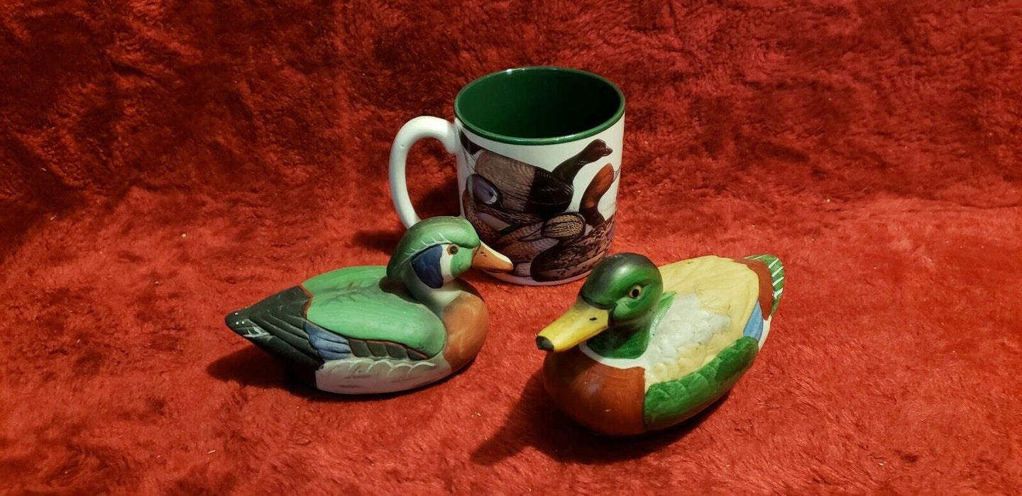 Vintage Lot 3 Ceramic Duck Decoys (1 lint remover, 1 without) + Duck Decoy Mug