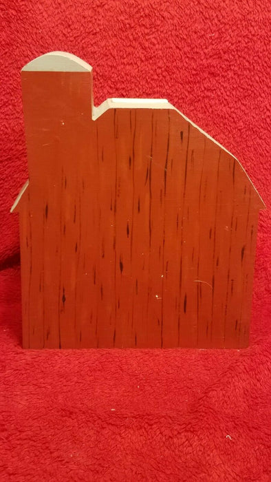 Hand Painted Wood Farmhouse, Red Barn,  Farmer Bank.  Cow, Sheep, Chicken