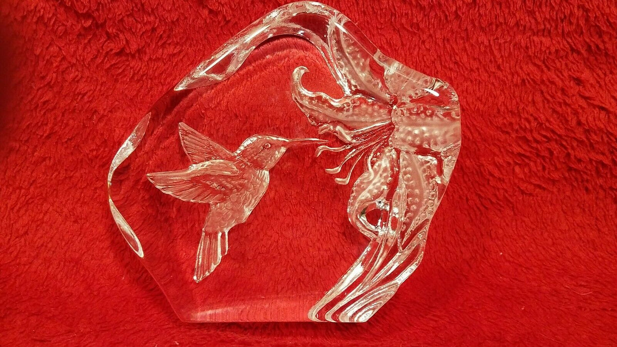 Clear Glass 3D Effect Hovering Hummingbird at Flower Paperweight