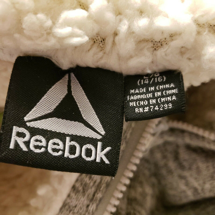 Reebok Grey & Beige Hooded Zippered Sweatshirt Girls Size 14-16