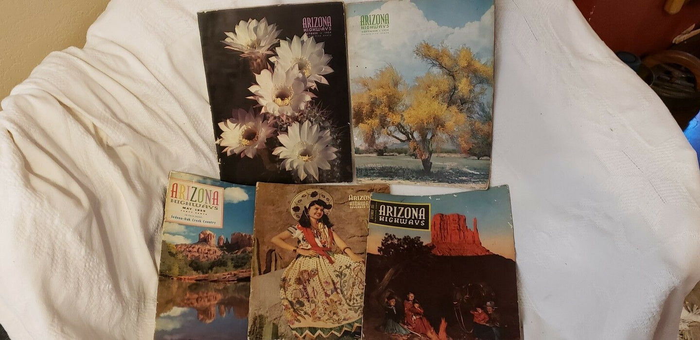 Lot 5: Arizona Highways Magazines 11/1947, 10/1954, 11/1954, 9/1955, 5/1959