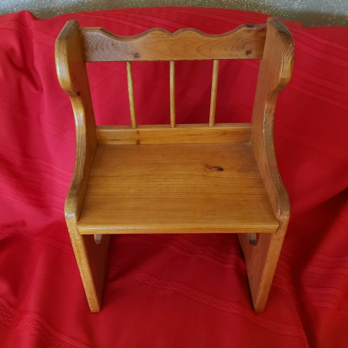 Vintage WOOD Child CHAIR Step Stool SEAT Bench White Pine