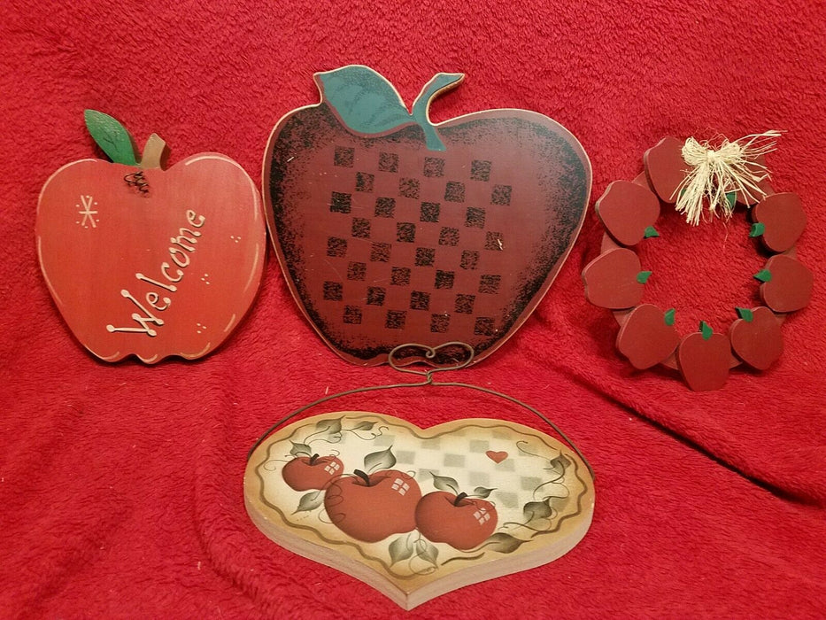 4 Piece Wood Apple Decor Signs Kitchen 1 w/ Checkerboard, 1 Welcome 1 Wreath