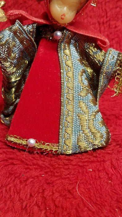 1950's Koestel Wax Figurine w/ Gold Halo in Red Blue and Gold Dress