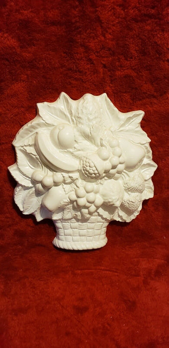 Ceramic Glazed White Fruit Cornucopia Style Wall Hanging Made In Italy, 13 x 12""