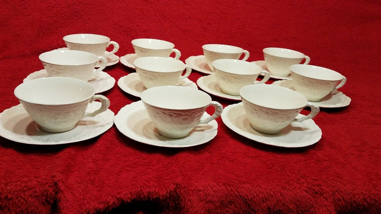 Set of 11 Steubenville Rose Point White China Coffee Cups and Saucers