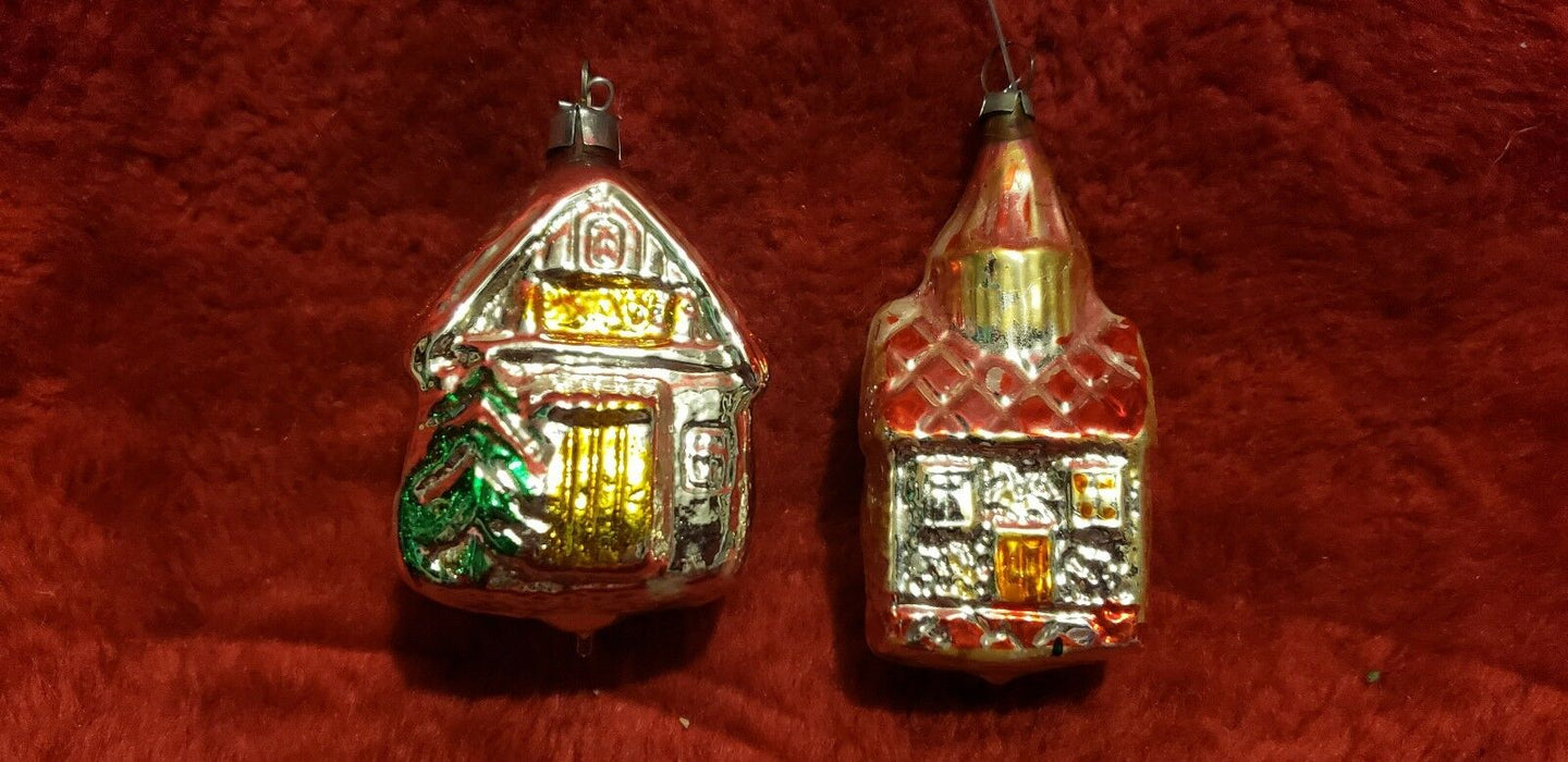 Assorted Collection of 14 Fancy Glass Vintage Christmas Tree Ornaments