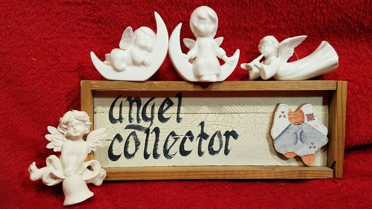 5 Piece Angel Lot 2 White Ceramic Mini Candle Holders 1 Angel Collector Sign