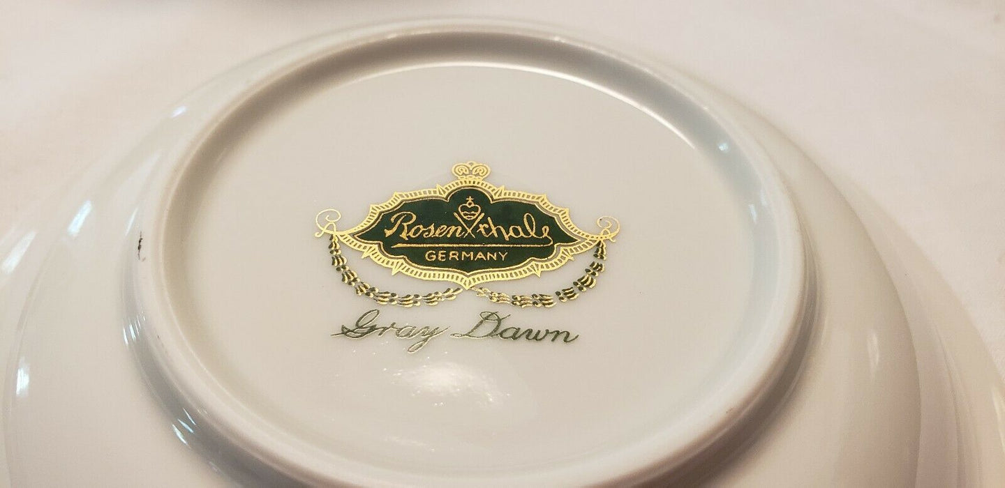 LOT 8: Rosenthal Continental GRAY DAWN GOLD Rimmed Salad Bowl, 7.75""