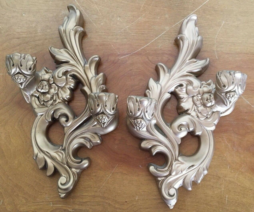 VTG Gold Pair Plaster/Ornate Wall Double Candle Holders