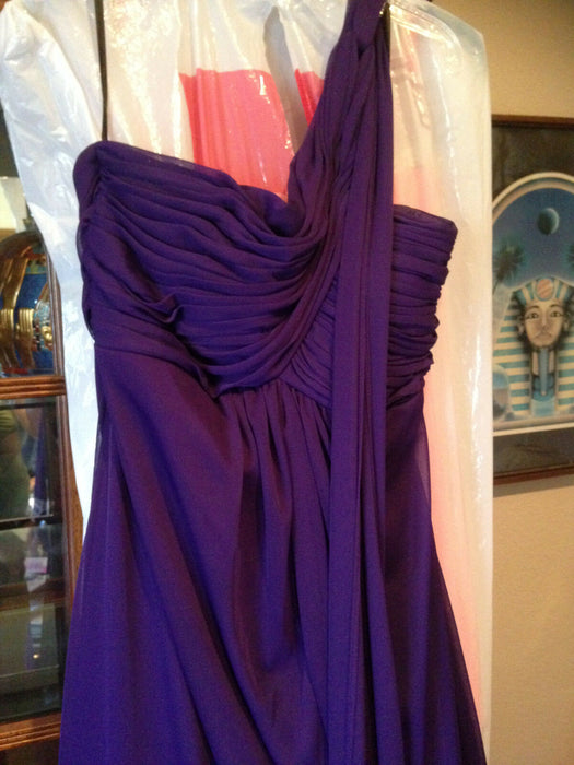Stunning Cindy USA Purple One Shoulder Grecian Formal Dress With Scarf