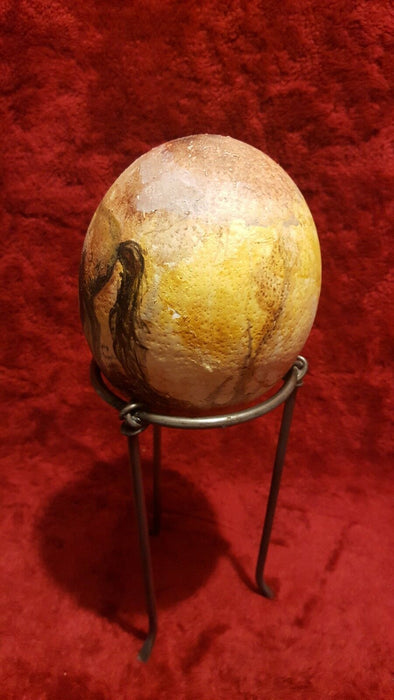 Handpainted Extra Large Gourd Egg w/ Horse, including stand