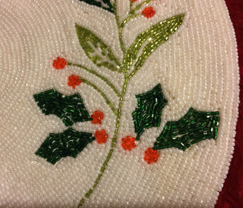 Lot 2: Beaded Christmas Holly Placemat Centerpiece Holiday Green Red White Beads