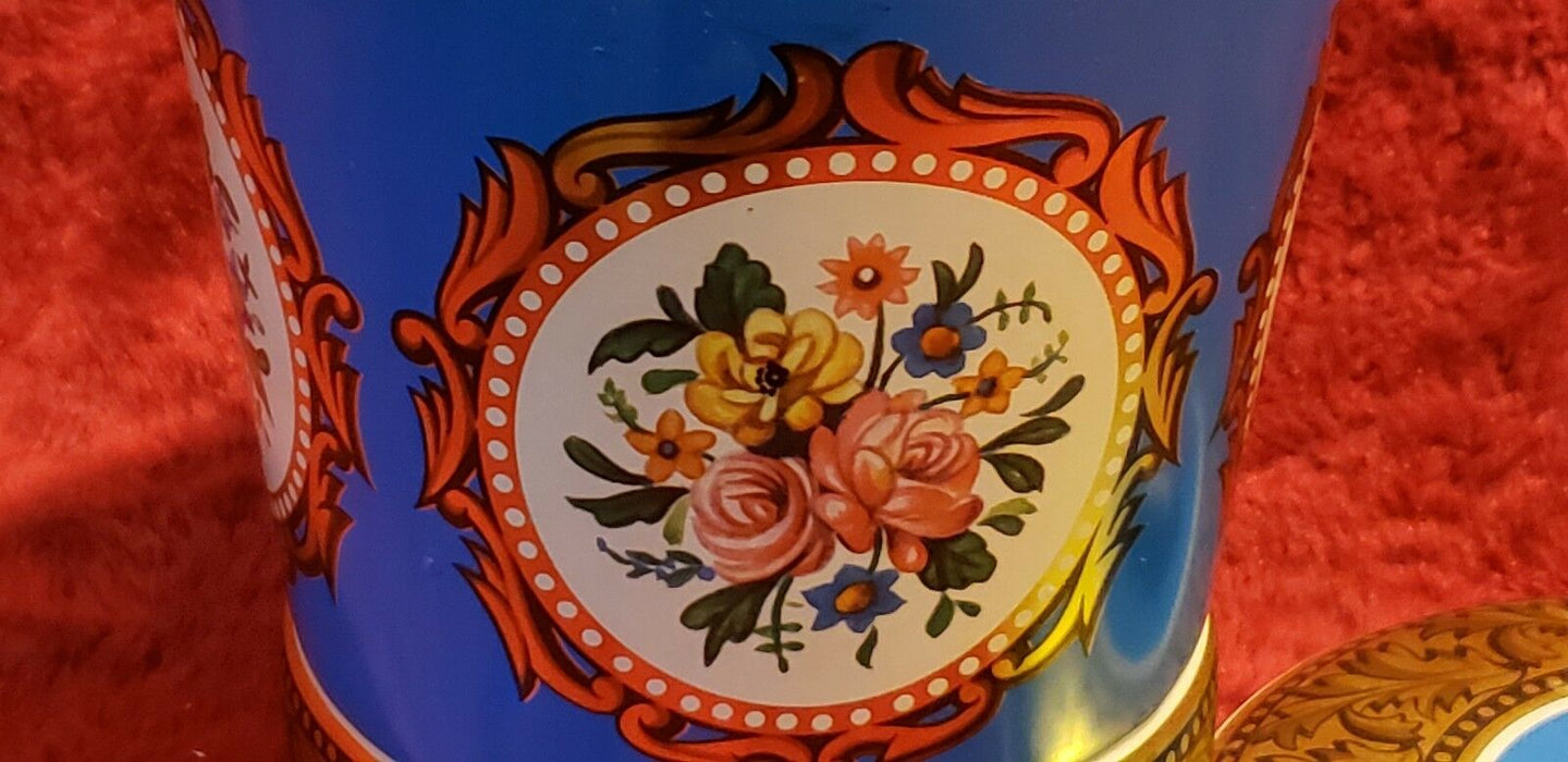 Vintage English Tin Blue Gold w/ Flowers George W Horner & Co. Chester-Le Street