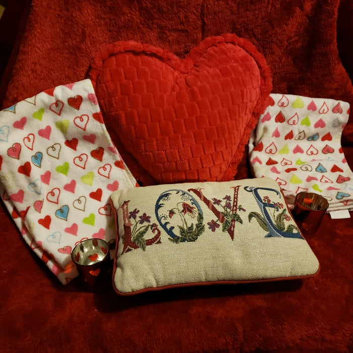 Lot 5: VALENTINE Pillows LOVE Heart Embroidered & Puff + towel, candleholders