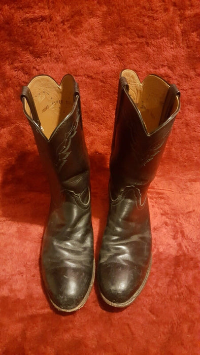 LUCHESSE MENS BLACK LEATHER COWBOY BOOTS-10 EE