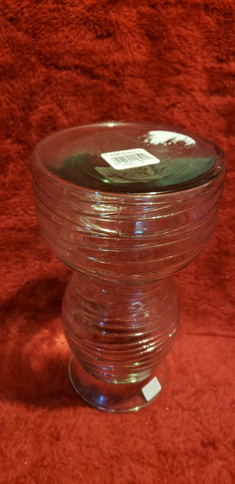 Double-neck Clear Glass Vase with Criss-Cross Wavy Lines