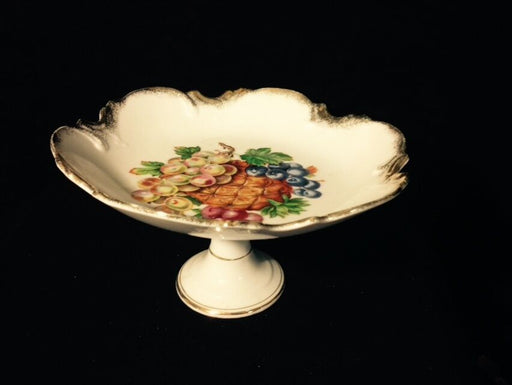 Compote with Fruit Pattern and Scalloped Edges, Made in Japan