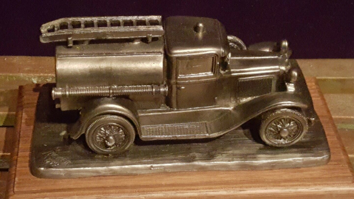 "Vintage Michael Ricker Pewter 1924 ""Model A Fire Engine"" Figurine & Wood Display"