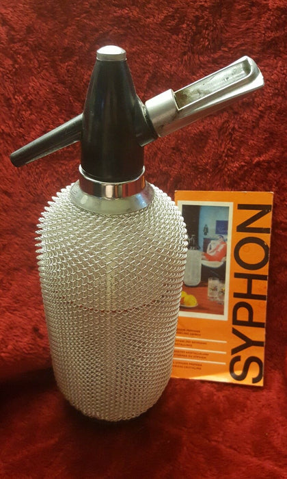 Vtg Syphon Seltzer Bottle Wire Glass Carbonated Water made w/ Bohemian Glass