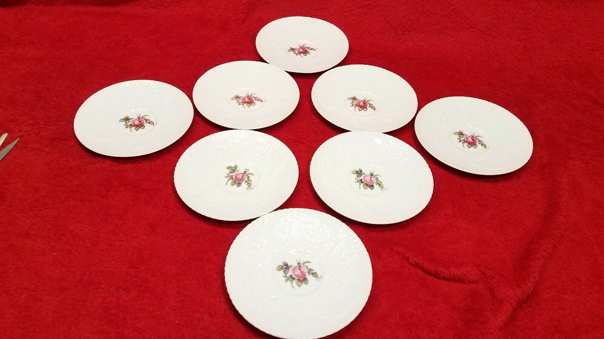 Set of 8 Spode Bone China Savoy Rose Teacup Plates