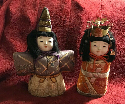 Two Vintage Japanese Kimekomi doll KOKESHI Old Silk Clothed cute amulets