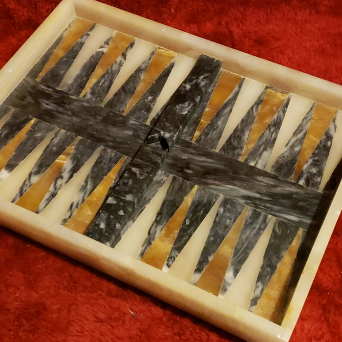 "Vtg Inlay Marble Stone Backgammon Board Black Brown Tan 13""x 9.75"""