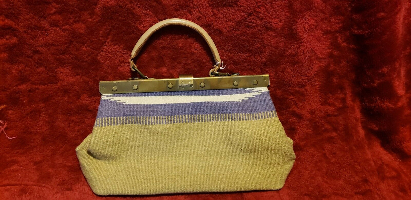 Vtg Richmark Made in America Leather Handle Southwest Tapestry Handbag Purse