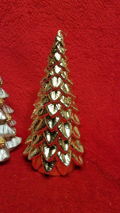 Lot of 4 Wax Christmas Tree Candles 1 Red 2 Gold 1 Silver & Gold w/ Pine Cones