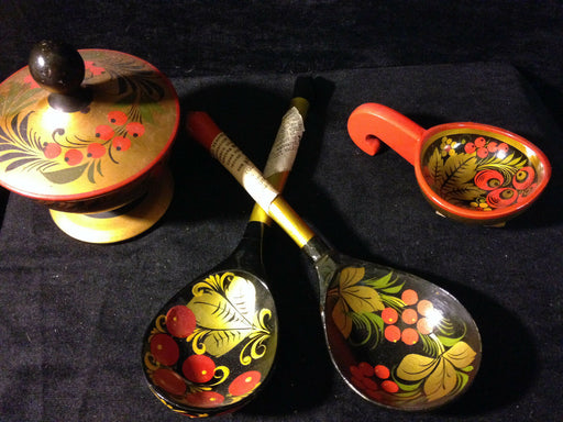 Vintage Folk Art Russian USSR Lacquered Wood Hand Painted Jars/Spoons