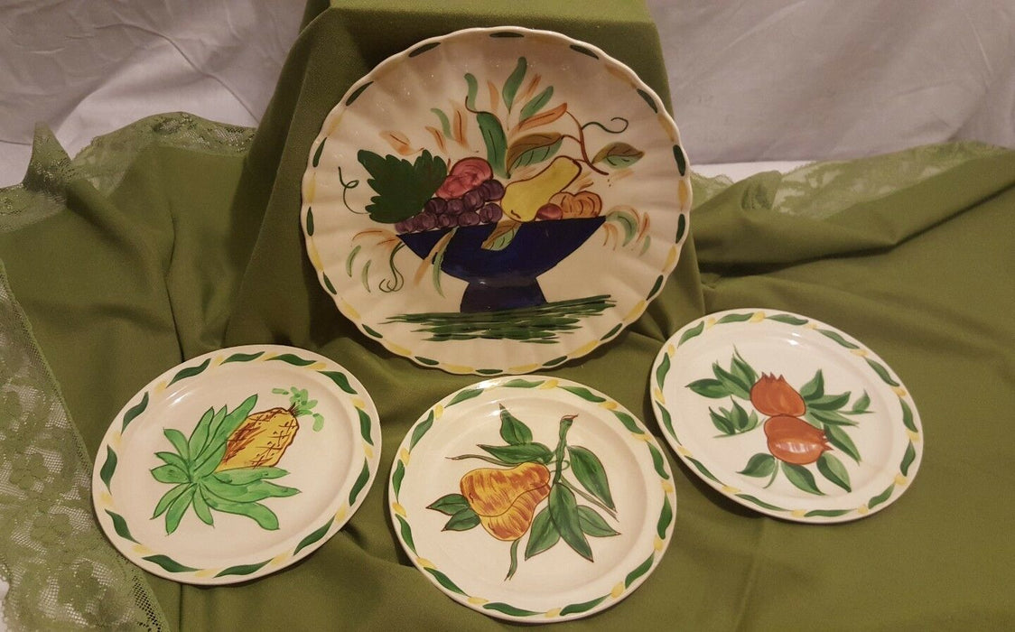Lot 4: Vintage Blue Ridge Hand Painted Southern Galleries Platter with 3 Plates
