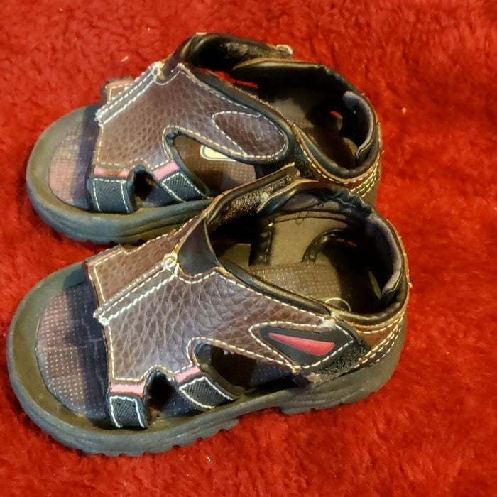 KID CONNECTION BABY TODDLER SANDALS, BROWN, SZ 4 Shoes