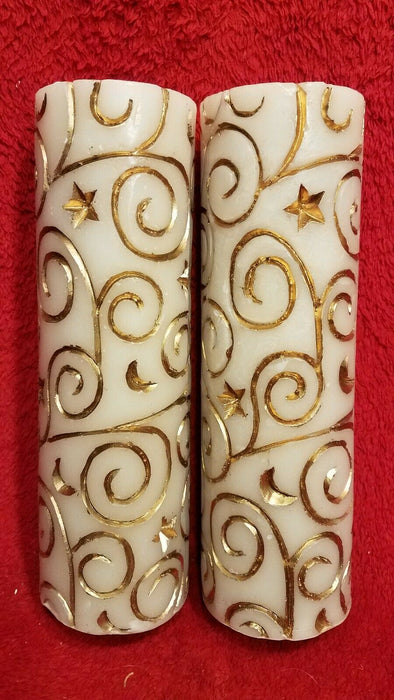 "2 9"" Vanilla Scented White Pillar Christmas Candles w/ Gold Swirls and Stars"